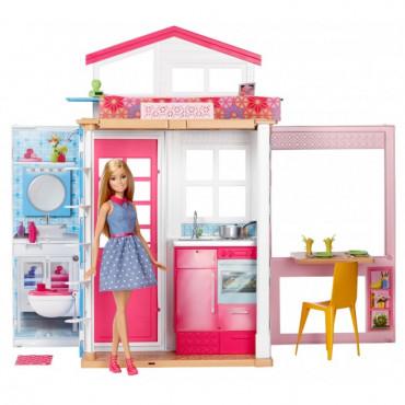Портативный двухэтажный домик Barbie с куклой, DVV48