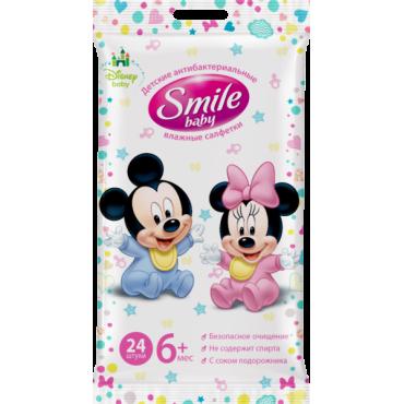 "Детские влажные салфетки Antibacterial ""Микки и Минни"" 24шт, Smile, 626797"