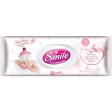 Вологі серветки з пластиковим клапаном «Smile Baby для новонароджених» 72шт, Smile, 617870