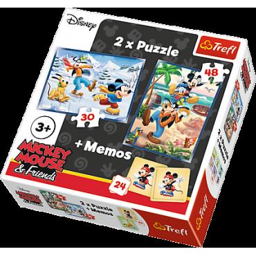 """Набір з двох пазлів та гри Memos Trefl 3 в 1 """"Міккі Маус і друзі"""", 30 + 48 + 24(мемос) деталей, 90604"""