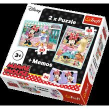 """Набір з двох пазлів та гри Memos Trefl 3 в 1 """"Хобі Мінні"""", 30 + 48 + 24(мемос) деталей, 90605"""