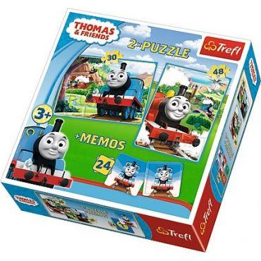 """Набор из двух пазлов и игры Memos Trefl 3 в 1 """"Томас и друзья"""", 30 + 48 + 24 (мемос) деталей, 90602"""