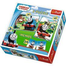 """Набір з двох пазлів та гри Memos Trefl 3 в 1 """"Томас та друзі"""", 30 + 48 + 24(мемос) деталей, 90602"""