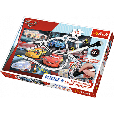 "Пазл Захватывающие гонки ""Тачки 70ел. + Магический маркер подарок, Trefl, 75110"