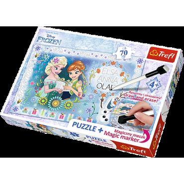 """Пазл """"День народження Анни"""" Крижане серце, 70ел. + магічний маркер подарунок, Trefl, 75111"""