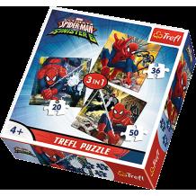 """Набір пазлів Trefl 3в1 """"Spiderman"""", 20 + 36 + 50 деталей, 34822"""