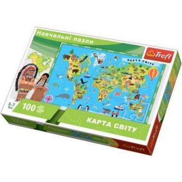 """Пазл навчальний """"Карта світу"""" 100ел., Trefl, 15531"""