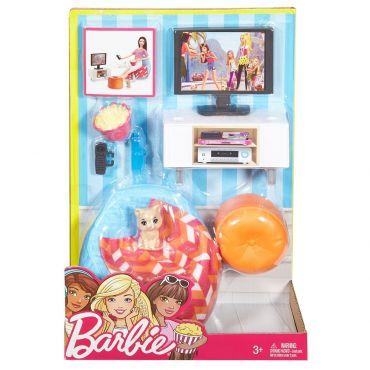 """Набор мебели """"Вечерний кинопросмотр с котенком"""" Barbie, DXB69 / DVX46"""