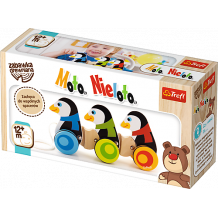 """Дерев'яна іграшка-каталка """"Три пінгвіни"""", Trefl, 60658"""