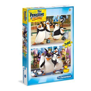 """Набор из 2 пазлов Clementoni """"Пингвины Мадагаскара"""", 60 + 60 эл., 07129"""