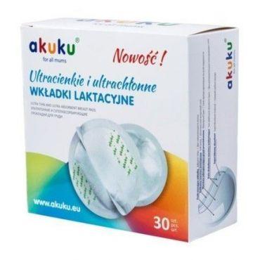 Прокладки для грудей ультратонкі 30 шт., Akuku, A0354