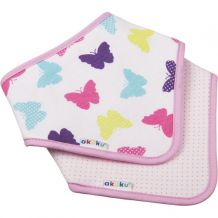 Нагрудник-шийна хустка на липучці метелики/рожевий в горошок, akuku, A1465