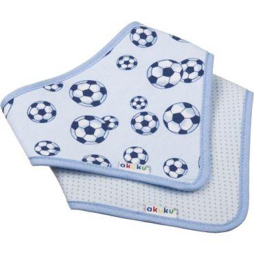Нагрудник-шейный платок на липучке мячи / голубой в горошек, akuku, A1468