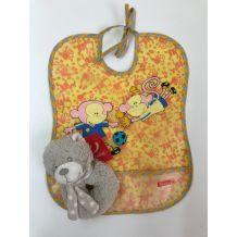 Нагрудник помаранчевий + іграшка-брязкальце в подарунок, zw22