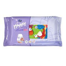 Вологі серветки Happy з вітаміном Е для догляду за шкірою немовлят 64 шт, Bella, 21120