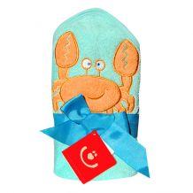 Махровое полотенце для купания Краб, бирюзовый, Bobobaby, PEL-R