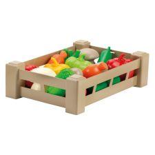 """Іграшковий набір овочів та грибів у ящику """"Врожай"""" 15 предметів, ecoiffier, 0948"""