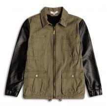 Куртка хакі з шкіряними вставками для дівчинки, Sugar Squad, 16055