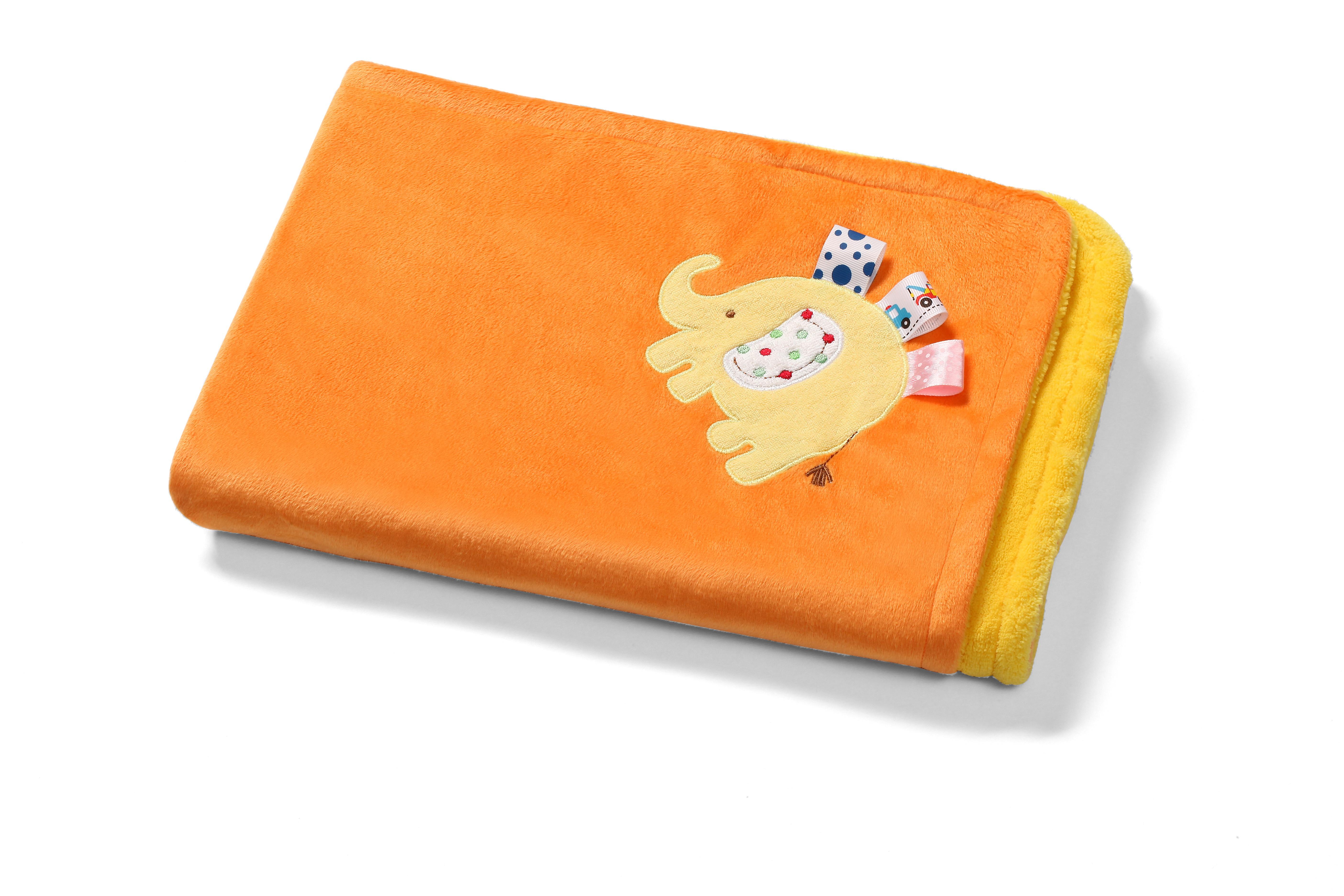 Мякое двухстороннее одеяло с 3D игрушкой оранжевая, 1401