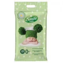 Вологі серветки Smile Baby з екстрактом ромашки, алое і вітамінним комплексом для новонароджених, Smile, 42106360