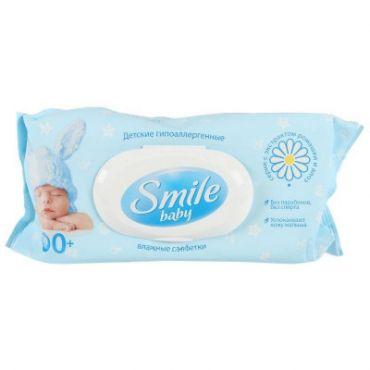 Влажные салфетки с пластиковым клапаном «Smile Baby с экстрактом ромашки и алоэ» 100шт, Smile, 607857