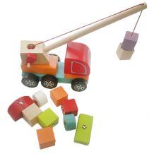 Дерев'яна іграшка Авто-кран з магнітними блоками, Cubika, 13982
