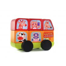 Деревянный автобус Веселые звери LM-10 Cubika, 13197
