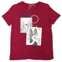 Бордова футболка з принтом для дівчинки, Original Marines, 5404