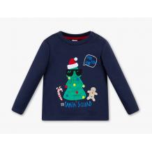 Синій лонгслів для хлопчика з новорічним принтом, C&A, 2023978