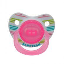 Пустышка силиконовая ортодонтическая (розовая), 0+, Baby Team, 3001