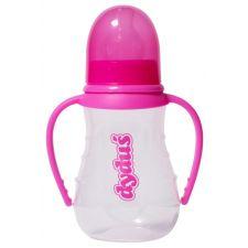 Пляшечка для годування рожева з ручками, 125мл, Dyduś, B131