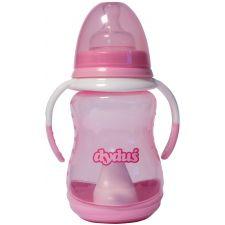 Набір пляшка+поїльник рожева з ручками, 250мл, Dyduś, Z143