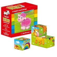 """Дерев'яні кубики """"Ферма"""", Vladi Toys, ZB1001-01"""