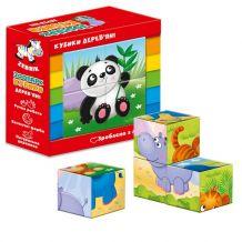 """Дерев'яні кубики """"Зоопарк"""", Vladi Toys, ZB1001-02"""