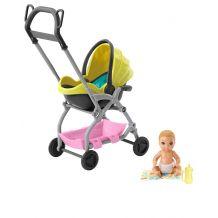 """Ігровий набір Barbie Babysitters""""Коляска з малюком"""" жовта, Mattel, FXG94/GFC18"""