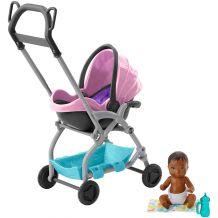 """Ігровий набір Barbie Babysitters """"Коляска з малюком"""" рожева, Mattel, FXG94/FXG95"""