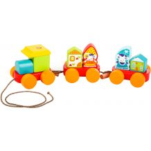 """Дерев'яна іграшка-каталка """"Казковий потяг"""", Cubika, 14002"""