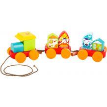 """Деревянная игрушка-каталка """"Сказочный поезд"""", Cubika, 14002"""