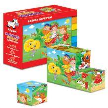 """Дерев'яні кубики - казки """"Ріпка. Теремок"""", Vladi Toys, ZB1002-02"""