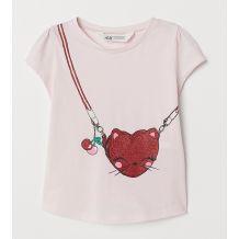 Світло-рожева футболка з принтом для дівчинки, H&M, 0696944004