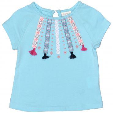 Блакитна футболка з аплікацією для дівчинки, OVS kids, 837894