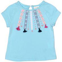 Голубая футболка с аппликацией для девочки, OVS kids, 837894