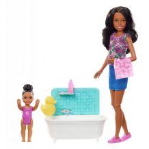 "Игровой набор Barbie Skipper темнокожая ""Bathtime"", Mattel, FHY97 / FXH06"