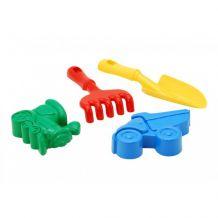 Детский песочный набор: лопатка, грабли, 2 большие пасочки, Colorplast, 1128