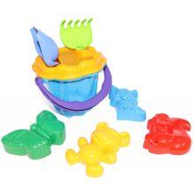 Дитячий пісочний набір: відерце, сито, лопатка, грабельки, 4 пасочки, Colorplast, 1104