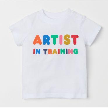 Біла футболка з принтом для малюків, H&M, 0721929006