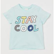 Ментоловая футболка с принтом для мальчика, H&M, 0747057002