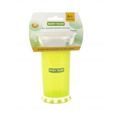 Поїльник-непроливайка 360° зелений 350мл, 6+, Baby Team, 5030