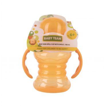 Поїльник-непроливайка зі спаутом та ручками помаранчевий 180мл, 6+, Baby Team, 5022