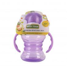 Поильник-непроливайка с спаутом и ручками фиолетовый 180мл, 6+, Baby Team, 5022